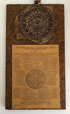 Vintage 1936 Spanish Aztec Calendar the Sun Stone Maya Inca Inlay Wall Plaque