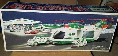 2001 Hess Helicopter With Motorcycle And Cruiser, New