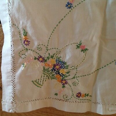 Vintage Embroidered Tablecloth Flower Basket 62x49 Stain