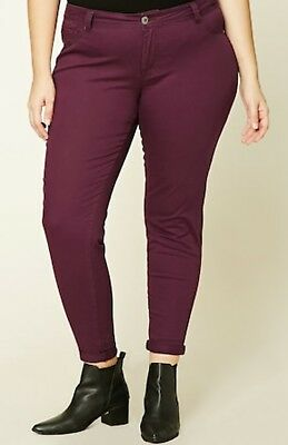 8ea2d276f53 Plus Size Burgundy Jeans Maroon Pants From Forever21 Size 14 NWT Skinny  Jeans