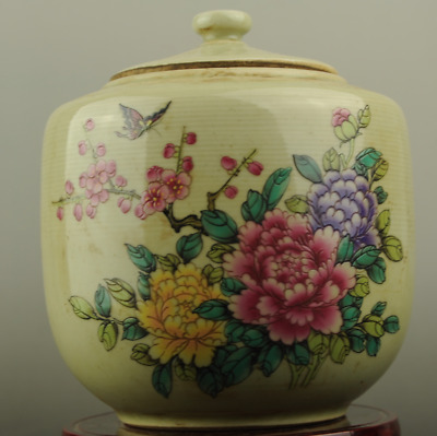 Chinese old famille rose porcelain flower pattern pot /tongzhi mark c01