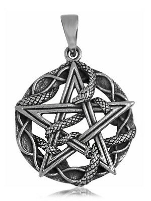 925 solid Sterling Silver Wicca Neo Pagan Ouroboros Snake with Pentagram pendant