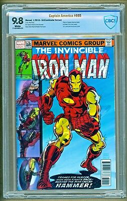 Captain America #695 2017 Marvel Lenticular Iron Man #126 Cover Variant CBCS 9.8