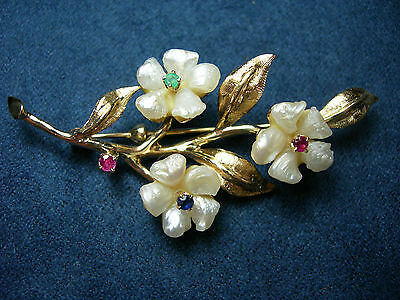 rare Natural River Pearl Flower Earrings Pin Set 14k Gold Emerald Ruby Sapphire