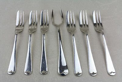 Vintage Cake forks & a Bun fork Old English Pattern Silver plate seven pieces