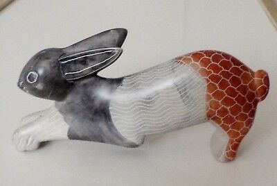 Hand Carved & Hand Painted Stone Rabbit African Art Figurine From Kenya