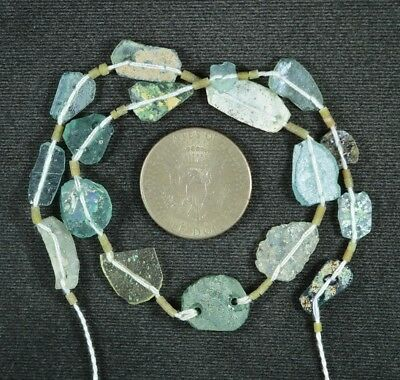 Ancient Roman Glass Beads 1 Medium Strand Aqua And Green 100 -200 Bc 883