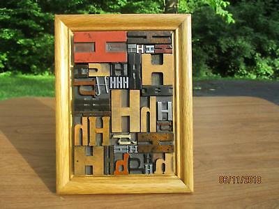 Antique Letterpress Printing Wood  & Metal Type Graphic Design All H's In Frame