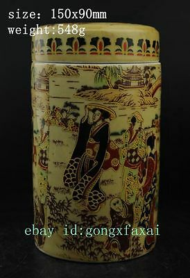 Chinese old Colour Porcelain Pottery Palace Beautiful Woman Tea Caddy Pot b02
