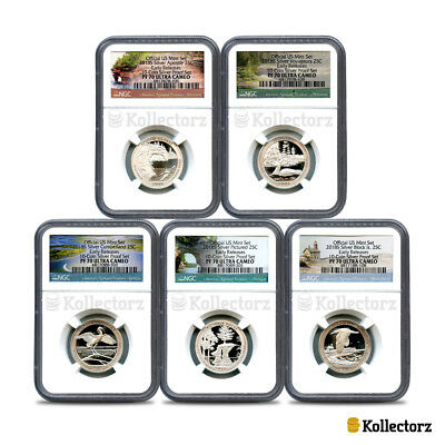 2018 S America The Beautiful 25C 5-Coin Ngc Pf70 Ultra Cameo Early Releases!!