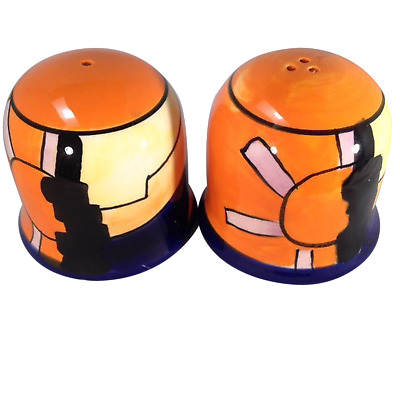 "SALT AND PEPPER SHAKERS PAIR ""Good Morning Pattern"" – Art Deco (1930's) Style"