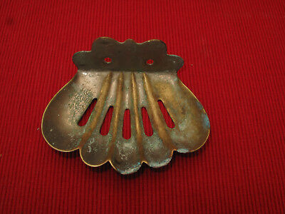 ANTIQUE VTG BRASS plate  SEA SHELL SOAP DISH HOLDER Wall MOUNT clam shell