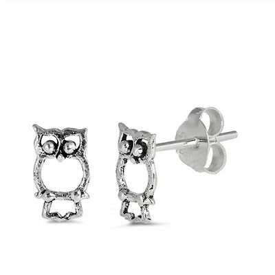 Sterling Silver Owl Stud Earrings 8 Mm
