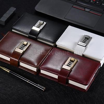 Vintage A7 PU Leather Pocket Notebooks Journals Diary Note With Password Lock