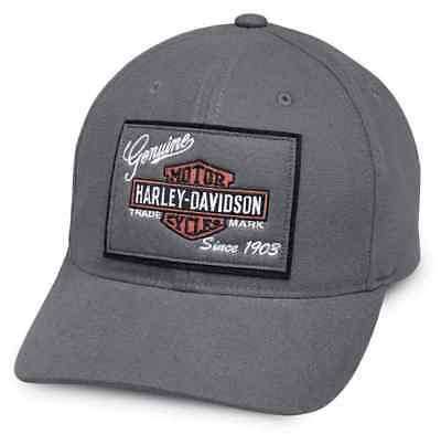 Harley-Davidson   Men's Genuine Logo Patch Baseball Cap, Gray