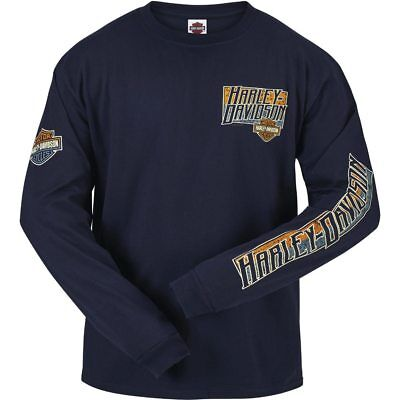 Harley-Davidson   Mens Split Box B&S Navy Long Sleeve T-Shirt