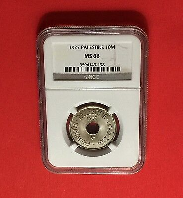 Palestine -Uncirculated 10 Mils 1927 Ngc Ms66..rare In This High Grade