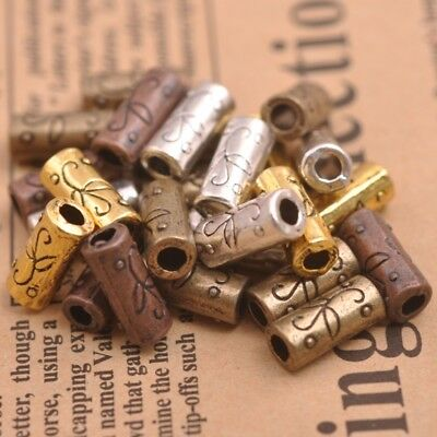 20Pcs Tibetan Silver Tube Charm Connector Bail Jewelry Findings A3152