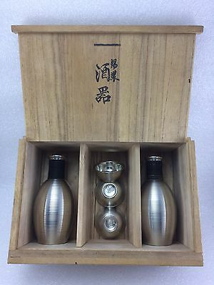 J326 Vintage Antique Japanese Silver Tone Sake Bottle /cups Signed