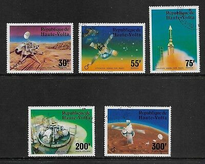 UPPER VOLTA 1976 Viking Space Flight, Mars, set of 5, CTO