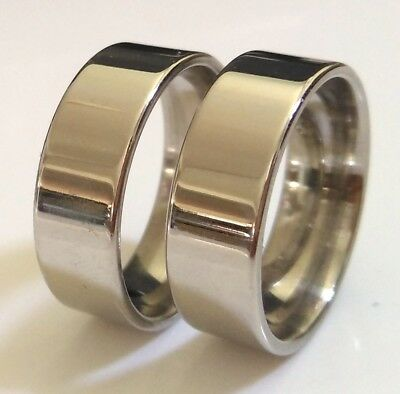 50x Comfort-fit 8mm Simple Plain Band Rings High Polish Stainless Steel Jewelry