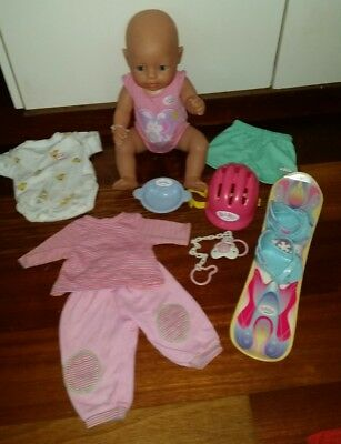 Bulk Baby Born Doll and Accessories : Ski Clothing Romper Plate Dummy and Helmet