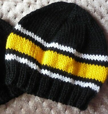 Baby Beanie. Hand-Knitted By Me - Richmond Tigers Colours. Lightweight. Newborn