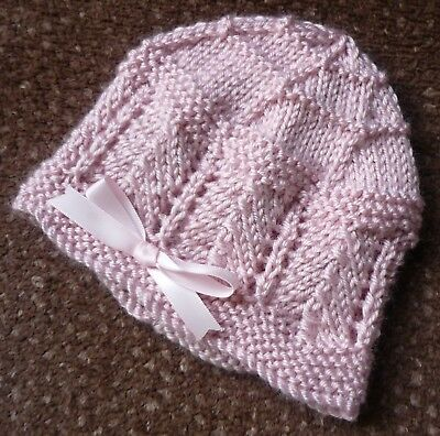 Newborn Baby Beanie. Soft Powder Pink. Girl Baby. Hand-Knitted By Me. Soft!