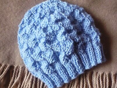 BABY BEANIE HAND-KNITTED BY ME. Newborn. 100% Cleckheaton Pure New Wool. Blue