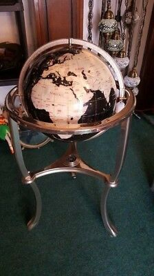 """Large Floor Standing 36"""" Pearl Gemstone Globe With Brass Stand And Compass Vgcc"""