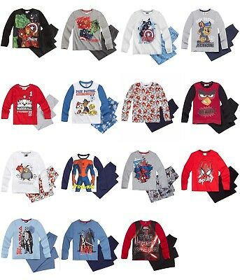 Boys pyjamas Angry Birds Star Wars Avengers Spiderman Paw Patrol long sleeve