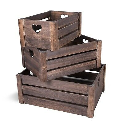 Lovely Brown Wooden Crates Storage Rack Shelves Christmas Eve Gift Hamper Box