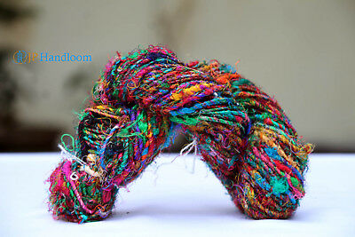200g Fingering weight 2 Ply Twisted Recycled Sari Sliver Silk Yarn-Multi Color