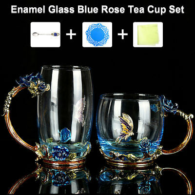 4pcs Cobalt-Blue Rose Enamel Glass Tea Cup Set+Spoon Coffee Beer Mug Gift Office