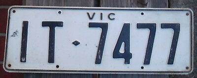 License Plate Number Plate VIC Interstate Steel Blck on White Heavy IT 7477