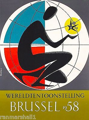 1958 Brussel Belgium Wereldtentoonstelling Vintage Travel Advertisement Poster