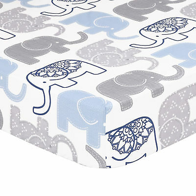 Little Peanut Navy, Blue and Grey Elephant Fitted Crib Sheet by The Peanut Shell