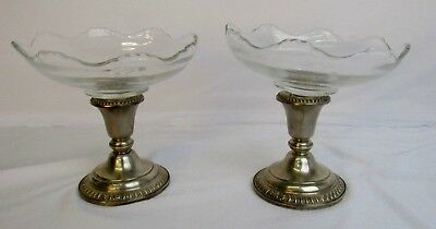 Sterling Silver Candle Stick Holders. Frank M Whiting with Glass Inserts