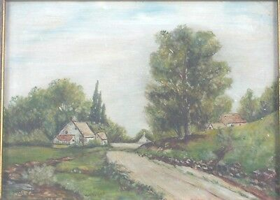 Antique Original Folk Art Oil Painting of a Country Farm by M.M. Tilden Listed