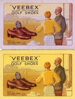 """Pair of RARE VINTAGE """"Veebex (Leeds ) Golf Shoes"""" SINGLE Playing Cards"""