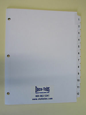 # 1-12 Numbered index tab dividers, 240 SETS $1.79 per set   3 HOLES