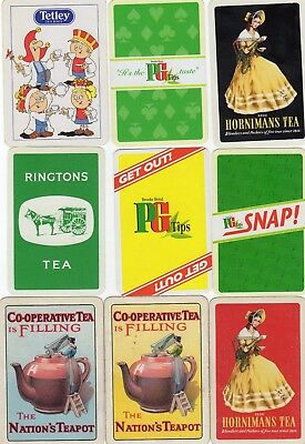 """9 Different OLD & NEW """"Tea Drinks"""" SINGLE Playing Cards"""
