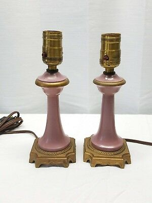 Pair Vintage Antique Brass Victorian Pink Gold Bedside Accent Table Lamps Lights