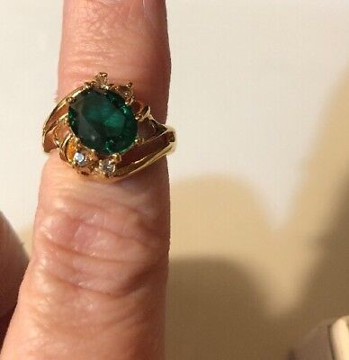 Stunning Vintage Ring Size 5 Gold Plated Huge Green Stone Estate Jewelry