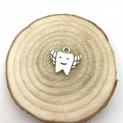 4pcs Tooth Fairy Charm Tibetan Silver Tone Pendant  Charms Pendants 20x17mm