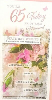 65th BIRTHDAY CARD LADY AGE 65 FLORAL VASE DESIGN QUALITY NICE VERSE