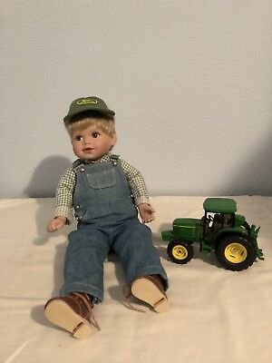 "Danbury Mint John Deere Porcelain Doll with tractor - ""Johnny"""