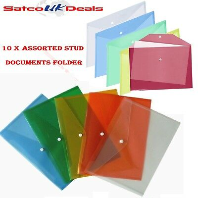 10 x A4 PAPER STORAGE FILE ASSORTED PLASTIC STUD DOCUMENT WALLET FOLDERS POPPERS