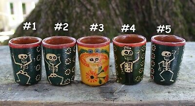 Skeleton Clay Cups Shot Glass SOLD SEPARATELY Day of the Dead Mexican Folk Art