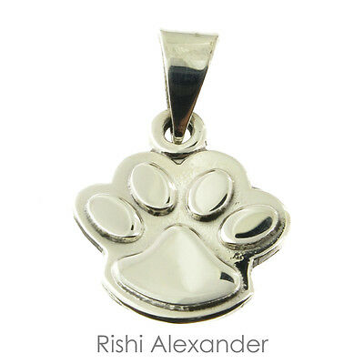 925 Sterling Silver Puppy Dog Paw Print Pendant or Necklace Engraved on Back